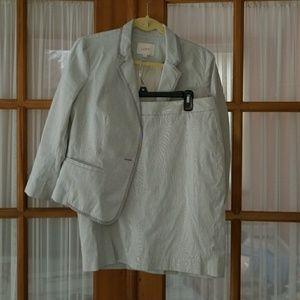 Loft striped searsucker suit set blazer skirt